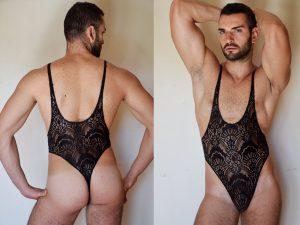 B - Black lace bodysuit