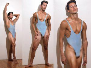 A - Babyblue singlet / thong bodysuit for guys