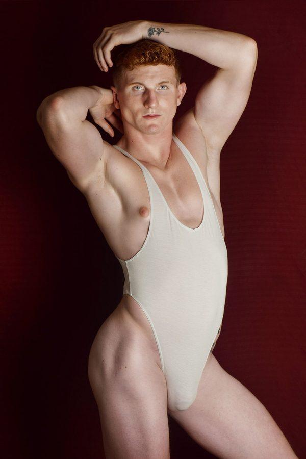 A - White leotard / wrestling singlet / thong for guys Kid McCoy homage